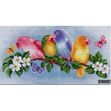 Алмазная мозаика Попугай, 40x21, полная выкладка, Вышиваем бисером