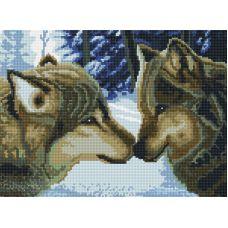 Алмазная мозаика Два волка, 30x40, полная выкладка, Белоснежка
