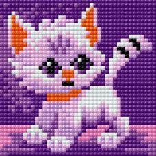 Алмазная мозаика на магнитной основе Милый котёнок, 10x10, полная выкладка, Вышиваем бисером