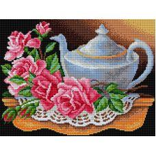 Алмазная мозаика Чайник с розами, 30x40, полная выкладка, Вышиваем бисером