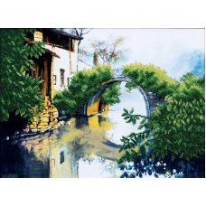 Набор для вышивания бисером Зеленый мостик, 36x27, Магия канвы