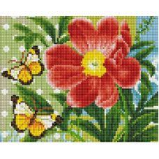 Алмазная мозаика Бабочка и цветок, 20x25, полная выкладка, Белоснежка