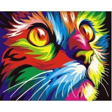 Живопись по номерам Радужный кот, 40x50, Paintboy, GX28475
