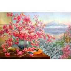 Мозаика стразами Букет сакуры, 60x40, полная выкладка, Алмазная живопись