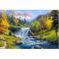 Мозаика стразами Горный ручей, 60x40, полная выкладка, Алмазная живопись