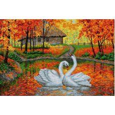 Алмазная мозаика Лебеди на пруду, 40x60, полная выкладка, Вышиваем бисером
