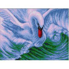 Алмазная мозаика Лебедь, 30x40, полная выкладка, Вышиваем бисером