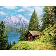 Мозаика стразами Домик в горах, 40x50, полная выкладка, Алмазная живопись