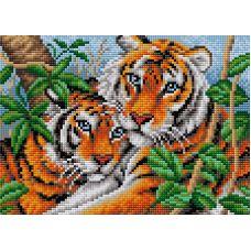 Алмазная мозаика на магнитной основе Тигры, 20x28,5, полная выкладка, Вышиваем бисером