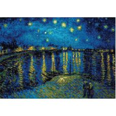 Алмазная мозаика Звездная ночь над Роной по мотивам картины Ван Гога, 27x38, полная выкладка, Риолис