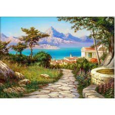 Мозаика стразами Город у моря, 50x70, полная выкладка, Алмазная живопись