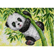 Алмазная мозаика на магнитной основе Панда в зарослях бамбука, 20x28, полная выкладка, Вышиваем бисером