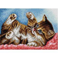 Алмазная мозаика на магнитной основе Игривый котёнок, 20x28,5, полная выкладка, Вышиваем бисером
