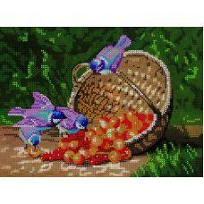 Схема Принт для вышивки бисером Птицы у лукошка, 19x25, Вышиваем бисером