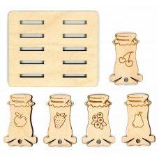 Бобины для ниток + подставка Банки варенья, 3,5x5,5, Щепка (МП-Студия)