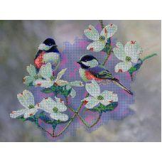 Схема Принт для вышивки бисером Птички в саду, 27x35, Вышиваем бисером