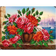 Набор для вышивания Розы в вазе, 19x24,5, Вышиваем бисером