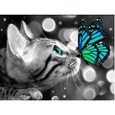 Мозаика стразами Бенгал и бабочка, 30x40, полная выкладка, Алмазная живопись