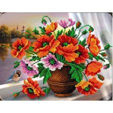 Набор для вышивания Маки в вазе, 19x24,5, Вышиваем бисером