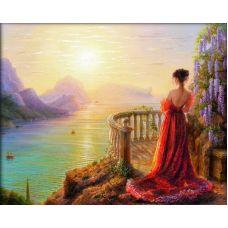 Мозаика стразами На утренней заре, 40x50, полная выкладка, Алмазная живопись