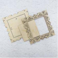 Декоративная рамка квадратная малая ажурная, 21x21 (13x13), Щепка (МП-Студия)