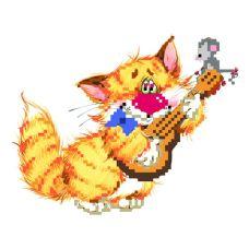 Набор для вышивания бисером Без кота - жизнь не та! Музыкант, 24x26 (11x15), Матренин посад
