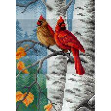 Алмазная мозаика на магнитной основе Осенние птицы, 20x28,5, полная выкладка, Вышиваем бисером