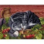 Набор для вышивания крестом Спящий кот, 22x28, МП-Студия