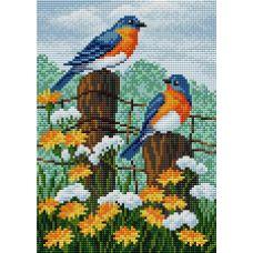 Алмазная мозаика на магнитной основе Птички в саду, 20x28,5, полная выкладка, Вышиваем бисером