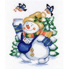 Набор для вышивания крестом Снеговик , 22x18, МП-Студия