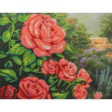 Набор для вышивания бисером Красные розы, 28x35, МП-Студия