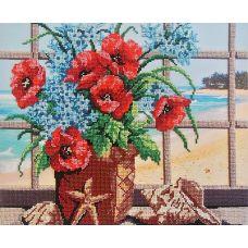 Набор для вышивания бисером Маки и ракушки, 28x35, МП-Студия