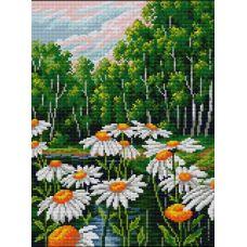 Алмазная мозаика Ромашки в лесу, 30x40, полная выкладка, Вышиваем бисером