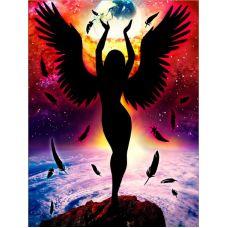 Мозаика стразами Темный ангел, 30x40, полная выкладка, Алмазная живопись