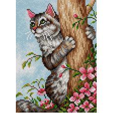 Алмазная мозаика на магнитной основе Кот на дереве, 20x28,5, полная выкладка, Вышиваем бисером