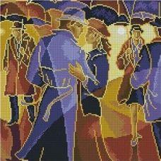 Алмазная мозаика В дождь, 39x39, полная выкладка, Jing Cai Ge