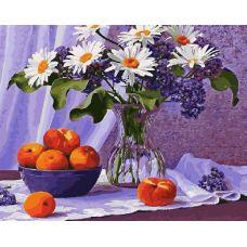 Живопись по номерам Натюрморт с персиками и ромашкой, 40x50, Paintboy, GX28991