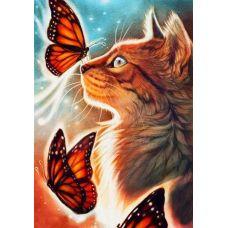 Живопись по номерам Кошка с бабочками, 40x50, Paintboy, GX31131