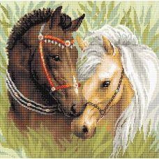 Алмазная мозаика Пара лошадей, 40x40, полная выкладка, Риолис