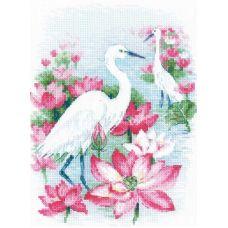 Набор для вышивания крестом Поле лотосов, Цапли, 18x24, Риолис, Сотвори сама