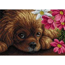 Алмазная мозаика на магнитной основе Милый щенок, 20x28,5, полная выкладка, Вышиваем бисером