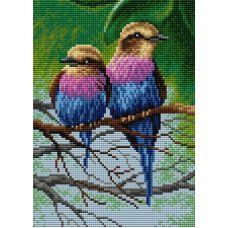 Алмазная мозаика на магнитной основе Птицы на ветке, 20x28,5, полная выкладка, Вышиваем бисером