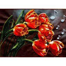 Набор для вышивания Тюльпанчики, 19x27,5, Вышиваем бисером
