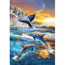 Живопись по номерам Дельфины и кит, 40x50, Paintboy, GX33232