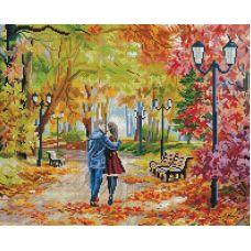 Алмазная мозаика Осенний парк, скамейка, двое, 40x50, полная выкладка, Белоснежка