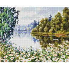 Алмазная мозаика В ромашковом краю, 40x50, полная выкладка, Белоснежка