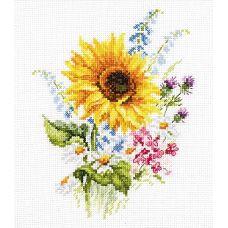 Набор для вышивания крестом Букетик с подсолнухом, 13x16, Алиса