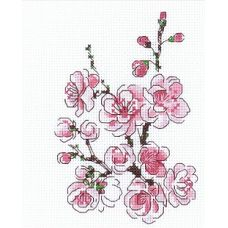 Набор для вышивания крестом Веточка сакуры, 13x16, Риолис, Сотвори сама