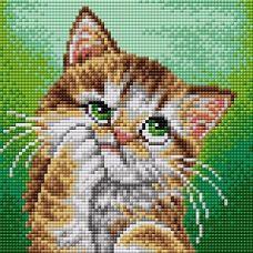Алмазная мозаика на магнитной основе Рыжий котенок, 20x20, полная выкладка, Вышиваем бисером