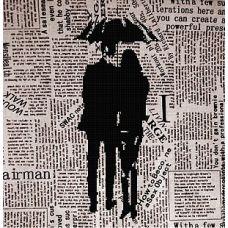 Канва с рисунком Под зонтом, 40x40, Божья коровка